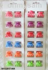 CLOSEOUT 12 SETS OF 12 NEW COLOR PLASTIC MINI JAW HAIR CLIPS / FLAT COMB / 7/8 ""