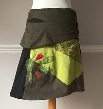 Gringo Fair-trade XL 12 14 Pocket Pixie hippy Skirt (32 Inch) Knee Length Large