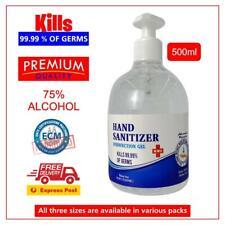 500ML Instant Hand Sanitiser Gel Anti-Becterial 75% Alcohol Base - Kills 99.99%