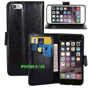 Black Wallets LEATHER Case with Card Slots for Apple iPhone 6/6S UK FREE POST