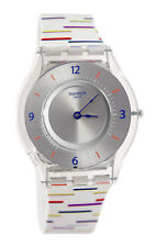Swatch SFE108 Thin Liner Grey Dial White Blue Red Silicone Band Unisex Watch New