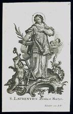 santino incisione 1700 S.LORENZO DIAC.M. klauber