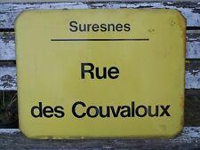 Plaque émaillée ancienne RATP de bus , rue déco loft ville : Suresnes Couvaloux