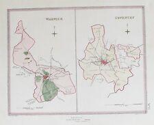 OLD ANTIQUE MAP WARWICK COVENTRY TOWN PLAN c1830s  CREIGHTON WALKER WARWICKSHIRE