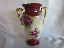 Antique Hand Painted Roses Vase Signed & Dated 1900   7''