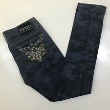 "Thrill Juniors Sz 9 Skinny Jeans Distressed Camo Stretch Flap Pockets 34"" x 32"""