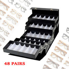 48 Slot Leather Sunglasses Eyewear Display Fully Expanded Organizer Lockable Box