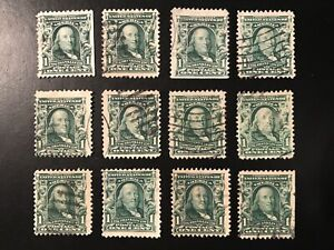 12 (twelve) Scott #300 US 1903 1 Cent Ben Franklin Postage Stamps! Post Marked