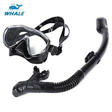 Underwater Scuba Snorkelling Liquid Silicone Diving Mask & Dry Snorkel Set BLACK