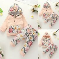 Toddler Kids Baby Girls Hooded Floral Print Tops+Floral Pant Outfits Set Clothes