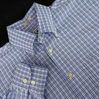 Mens Peter Millar Crown Blue Plaids Oxford Golf Dress Shirt Size Large L Casual