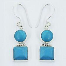 Silver earrings blue howlite gemstone hinged circle & square  925 sterling