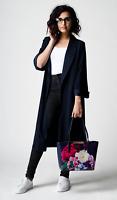 New Dorothy Perkins Navy Scuba Crepe Longline Kimono Jacket RRP £42 Sizes 8 - 20