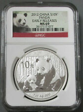 2012 SILVER CHINA 10 YUAN PANDA 1 OZ COIN NGC MINT STATE 69 EARLY RELEASES MS 69