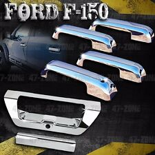 For Ford F150 Polished Chrome 4 Door Handle Tailgate Cover Combo Overlay Trim
