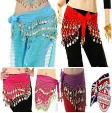 3 Filas Danza Del Vientre Hip Bufanda Envolvente Cinturón Bailarín Falda Traje Monedas Todos Los Colores * B