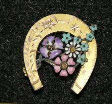 Antique Victorian Rolled Gold Horseshoe Enamel Flowers Good Luck Brooch Pin