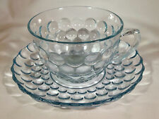 ANCHOR HOCKING GLASS CO. BUBBLE SAPPHIRE BLUE CUP & SAUCER SET!