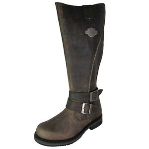 Harley Davidson Womens Sennett Tall Distressed Leather Boot Shoes