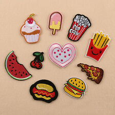 10pc Embroidered Sew Iron on Patch Badge Dessert Pizza Bag Cloth Fabric Applique