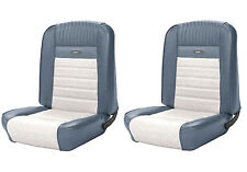 1964 - 1966 Mustang Front and Rear Deluxe PONY Upholstery - Blue and White
