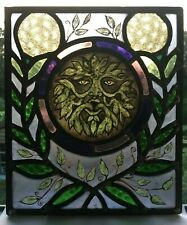 More details for victorian style stained glass panel with green man.