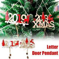 2019 Christmas Elk Wood Hanging Ornaments Plate Door Pendant Xmas Decoration New