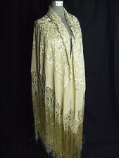 """Antique 1920s Beige Floral Embroidery Silk Large Square Fringe Shawl 100"""" x 100"""""""