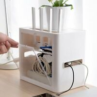 Power Plug Socket Storage Box Case Bracket Cable Wire Cord Router Organizer