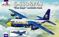 "Amodel 1425 C-130 & F4J ""Blue Angel"" Aerobatic, 1/144 scale plastic model kit"