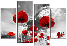 LARGE RED POPPIES ON GREY FLORAL CANVAS MULTI PANEL 100cm wide 4 PANEL WALL ART