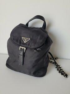 Prada tessuto Nylon vela Chain Mini Backpack Black 1990's-00's