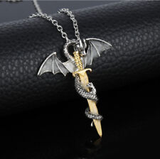Mens Stainless Steel Pendant Necklace Chain Punk Dragon Sword Wing Silver Gold