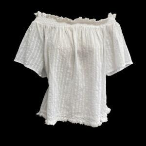 Gypsy Top 14 16 White Boho Milkmaid Cotton Swing Blouse Peasant Fringe Hem Sweet
