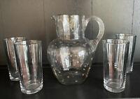 "Vintage Glass Pitcher And 4 Pc Juice Glass Set, 8-1/2"" Pitcher, 5"" Glasses"