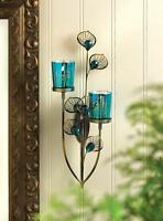 teal blue turquoise Peacock feather wall sconce sculpture art Candle holder
