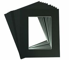 Set of 50 BLACK 8x10 Picture Mats Matting with White Core for 5x7 +Backing +Bags