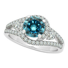 1.24 Carat Blue SI1 Round Diamond Solitaire Wedding Bridal Ring 14K White Gold