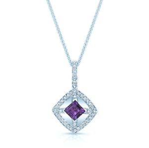 14k White Gold Square Cut Amethyst Diamond Diagonal Pendant Necklace Womens
