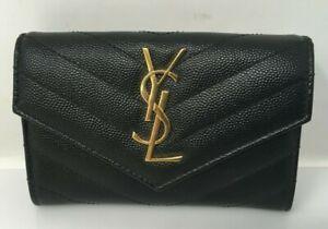 Saint Laurent Black & Gold Embossed Leather Small YSL Monogram Envelope Wallet