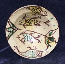19th Century Antique Swat Valley Pakistan Fish Bird Glaze Pottery Bowl