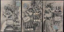 French Set of 3 LES VINS DE FRANCE, VINS DE BORDEAUX - Wines of France c1904