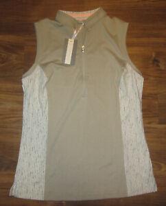 Fairway & Greene Harlow Womens Sleeveless 1/4-Zip Shirt, Flax Brown, Size S, NEW
