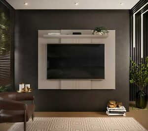Wall Mounted TV Floating Panel Extendable Unit Shelving Wood Effect Grey Jarvis