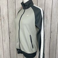 Nike Women's Size M The Athletic Dept Gray & White Full Zip Mock Neck Jacket EUC