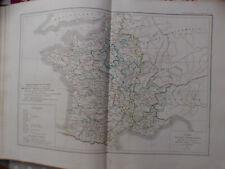Carte de 1852 issue atlas general Dussieux france  depuis 1095 à 1180