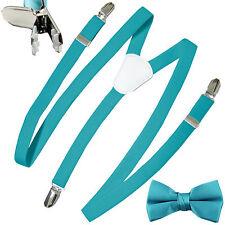 New Kid's Boy's girl's Vesuvio Napoli Suspenders Braces Bowtie clip on Aqua Blue