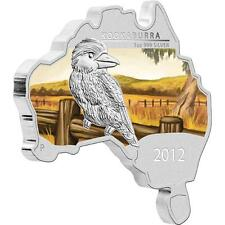 2012 $1 Aust Map Shaped Kookaburra 1oz Silver Proof Coin