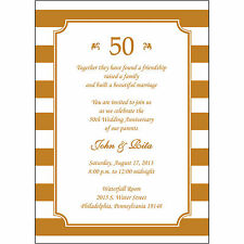 25 Personalized 50th Wedding Anniversary Invitations  - AP019 - Gold Stripes