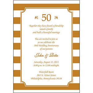 25 Personalized 50th Wedding Anniversary Invitations  - AP019 - Gold Stripes